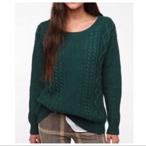 UO Coincidence & Chance Green Elbow Patch Sweater